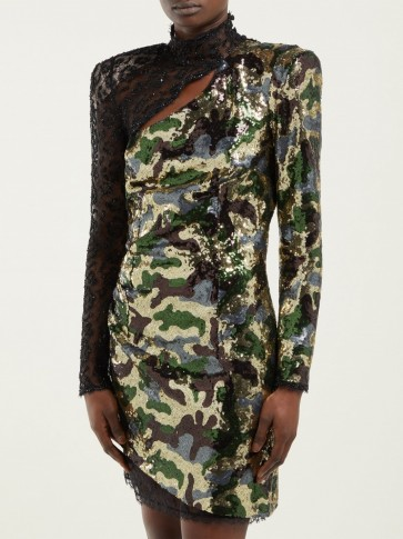 DUNDAS Camouflage and leopard-lace sequinned mini dress ~ event glamour