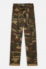 TOPSHOP Camouflage Paperbag Trousers in Khaki / camo prints