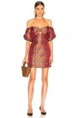 CAROLINE CONSTAS Titos Dress in Red Multi   floral off the shoulder dresses