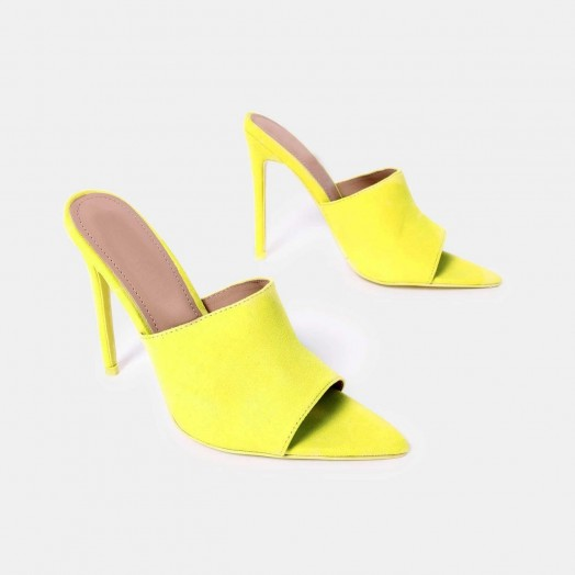 EGO Cece Pointed Peep Toe Mule In Neon Yellow Faux Suede – POINTED MULES