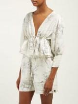 GANNI Cedar drawstring-waist linen-blend blouse in white