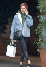 Ashley Tisdale pale-blue denim borg-lined jacket out in LA, January 2019 | casual celebrity street style