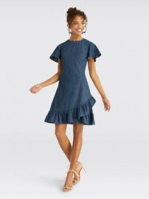 Draper James Chambray Faux Wrap Dress | blue denim ruffle dresses | Reese Witherspoon clothing collection