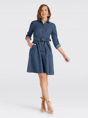 Draper James Chambray Shirtdress in Medium Wash | fit and flare denim shirt dress