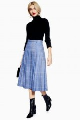 NORR Blue Check Pleated Skirt   checked midi