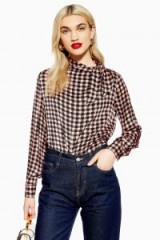 Topshop Check Pussy Bow Blouse in Pink | long sleeved tie neck top