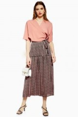 TOPSHOP Check Wrap Midi Skirt in Pink