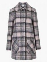 M&S COLLECTION Checked Coat in pink mix – front pocket coats