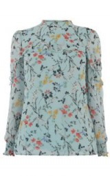 OASIS CHIFFON FRILL TOP in BLUE / high neck floral blouse