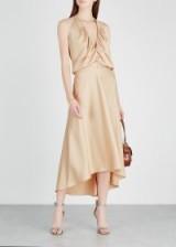 CHLOÉ Almond halterneck satin dress – luxe designer dresses – feminine style luxury fashion