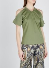 CHLOÉ Army green cut-out cotton T-shirt | cold shoulder t-shirts