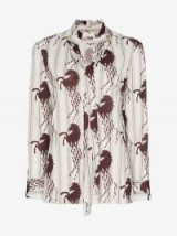 Chloé Horse Print Neck Tie Shirt in White – animal printed shirts – horses in fashion
