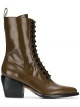 CHLOÉ 60 brown-leather lace-up boots   prairie style footwear