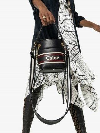 Chloé Midnight Blue Roy Mini Leather Bucket Bag | small top handle bags | chic handbags