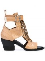 CHLOÉ Rylee ankle boots in Nougat   cut-out croc embossed boot