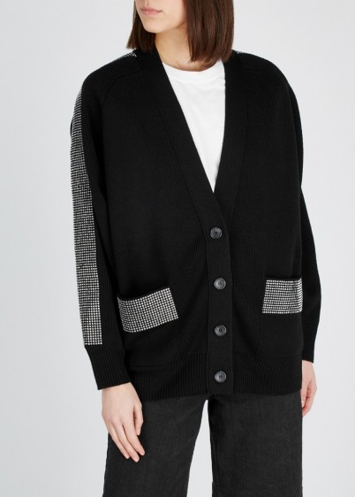 CHRISTOPHER KANE Black crystal-embellished wool cardigan ~ oversized cardigans