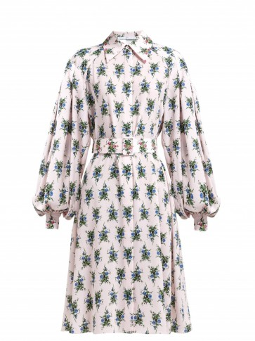 EMILIA WICKSTEAD Clarisse pink floral-print crepe dress – blouson sleeved dresses