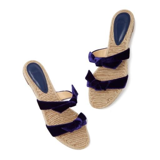 Alexandre Birman CLARITA BRAIDED FLATS in blue velvet / cute bow front jute sandals