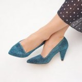 L.K. BENNETT CLEM AQUA COURTS / blue cone shaped heels / vintage look court shoes