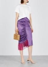 COLLINA STRADA Chakra purple ruched satin skirt ~ luxe asymmetric sheer panel skirts