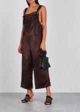 COLLINA STRADA Karma brown satin jumpsuit ~ luxe dungarees