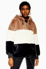 Topshop Colour Block Faux Fur Hoodie | snugly winter hoodies