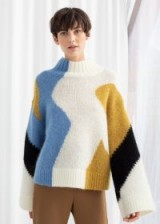 & other stories Colour Block Mock Neck Sweater Multicoloured | flared sleeve jumper