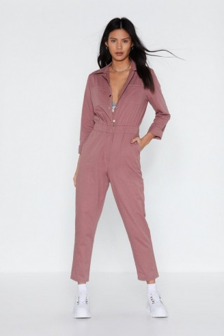 NASTY GAL Complete Look Boilersuit in Rose – pink crop leg boilersuits