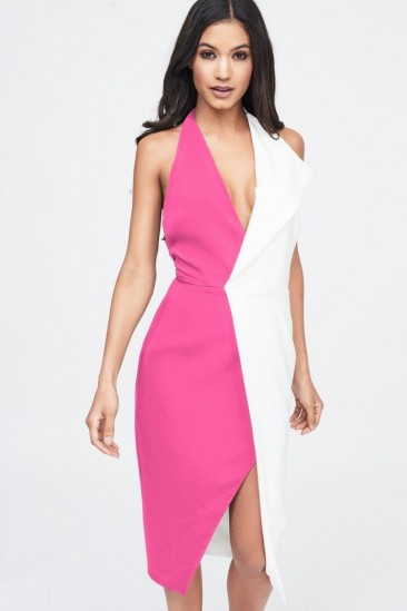 LAVISH ALICE contrast oversized collar halter midi dress in pink & white – party glamour
