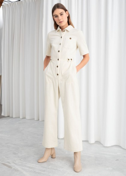 & Other Stories Cream Corduroy Boilersuit   neutral cord boilersuits