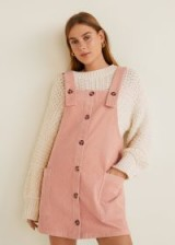 MANGO Corduroy pinafore dress in pink – cute cord pinafores