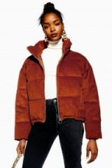 TOPSHOP Corduroy Puffer Jacket in Tobacco – brown cord jackets