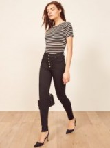 Reformation Cory High & Skinny in Black | button fly skinnies