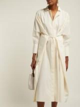 JIL SANDER Cotton-poplin tie-front shirtdress in ivory ~ chic shirt dresses