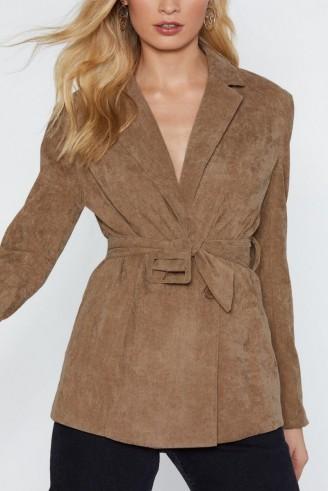 NASTY GAL Cover Your Tracks Corduroy Blazer in tan   light-brown tie waist jacket