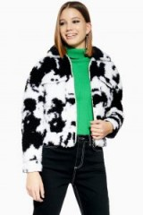 Topshop Cow Faux Shearling Crop Jacket in White | fluffy monochrome jackets