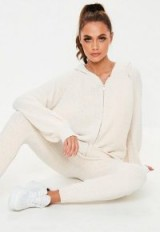 MISSGUIDED cream chenille knitted co-ord zip hooded cardigan ~ affordable luxe style hoodie
