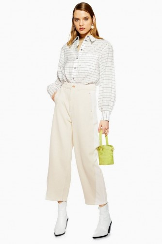 Topshop Cream Hybrid Ovoid Jeans in Ecru | neutral denim