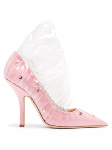 MIDNIGHT 00 Crescent pink cotton & PVC ruffle pumps – clear ruffled court shoes