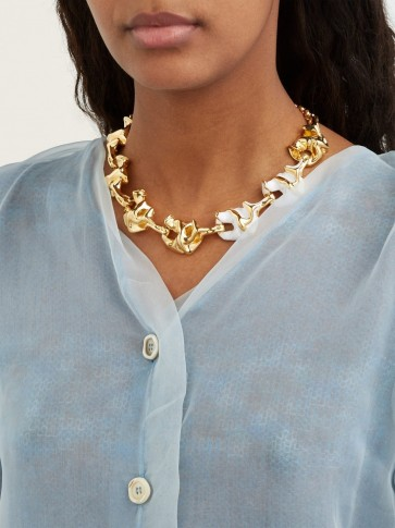 MARNI Crinkle pendant necklace ~ gold-tone statement jewellery