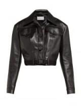 MAISON MARGIELA Cropped leather jacket in black ~ point collar jackets