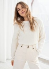 & other stories Cropped Rib Knit Sweater in Cream | neutral crew neck