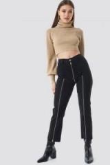 Chloé B x NA-KD Cropped Zipper Jeans Black | zip detail denim
