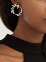 SAINT LAURENT Crystal-embellished hoop-drop earrings ~ statement event jewellery