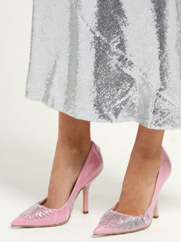 MIDNIGHT 00 Crystal-embellished PVC pumps – party courts