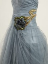 PRADA Crystal-embellished blue tulle strapless gown ~ crystal embellishments