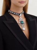 DOLCE & GABBANA Crystal-embellished black velvet choker necklace ~ Italian statement jewellery