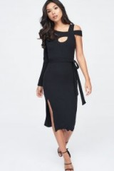 Lavish Alice cut out belted knit dress in black | one sleeve knitted evening dresses