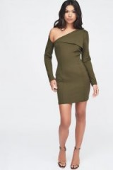 LAVISH ALICE cut out shoulder ponte midi dress in khaki – statement party dresses