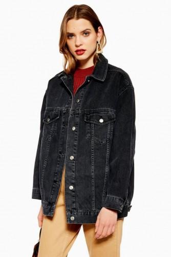 Topshop Dad Denim Jacket in Washed Black